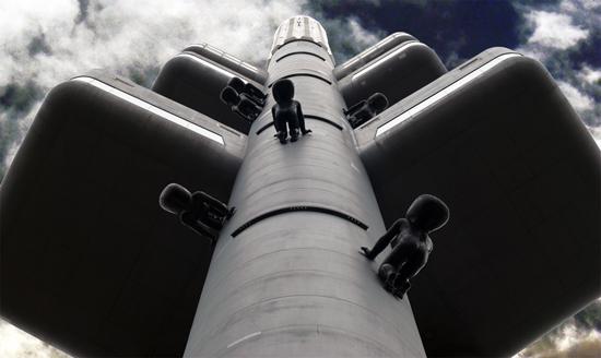 Prague TV Tower with its famous climbing babies!